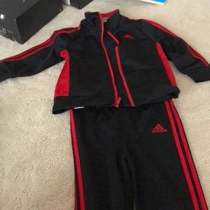 Adidas two-piece suit black and red 24 months